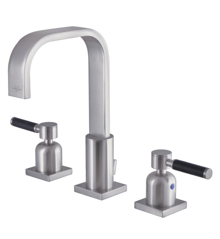 "Kaiser 9"" Double Porcelain Rubber - Coated Lever Handle Widespread Bathroom Sink Faucet with Pop-Up Drain in Brushed Nickel"