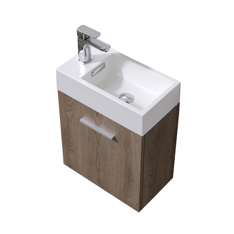 "Modern Lux 18"" Butternut Wall Mount Modern Bathroom Vanity"