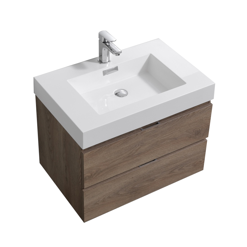 "Modern Lux 30"" Butternut Wall Mount Modern Bathroom Vanity"