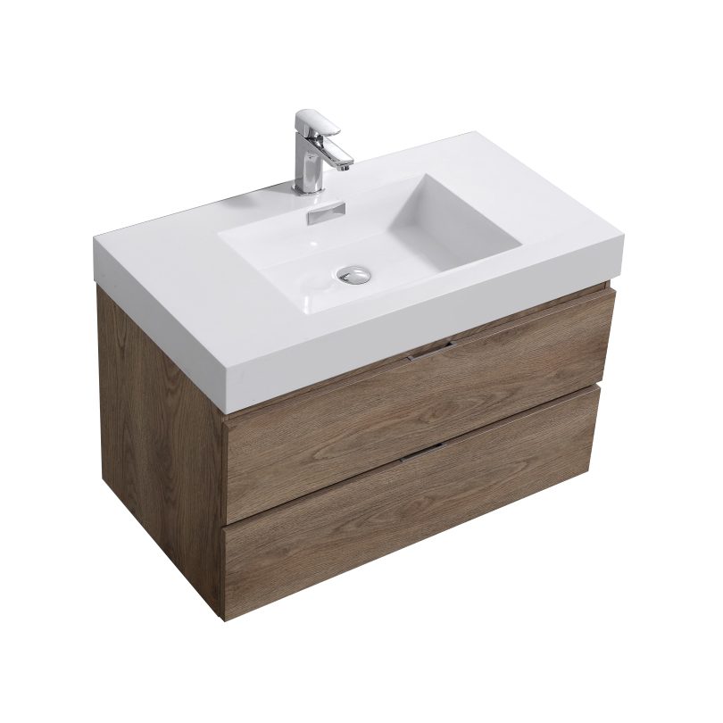 "Modern Lux 36"" Butternut Wall Mount Modern Bathroom Vanity"