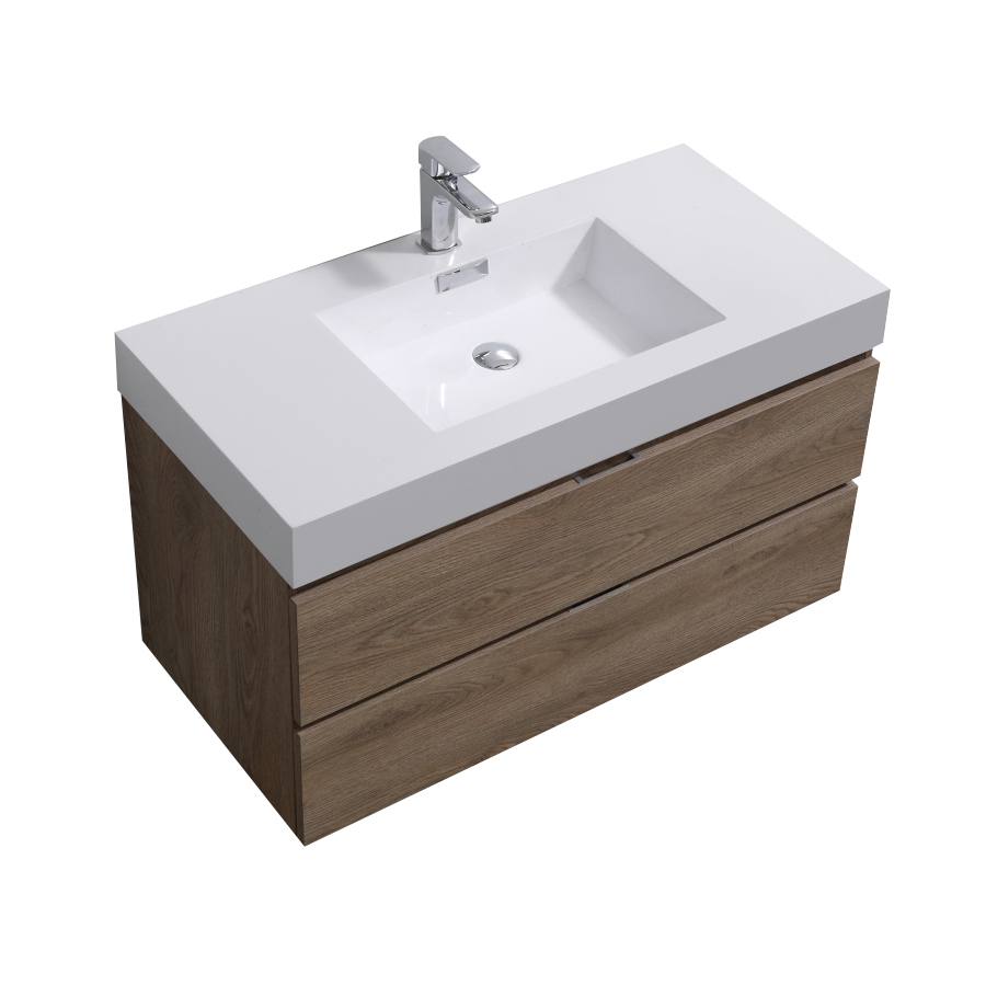 "Modern Lux 40"" Butternut Wall Mount Modern Bathroom Vanity"