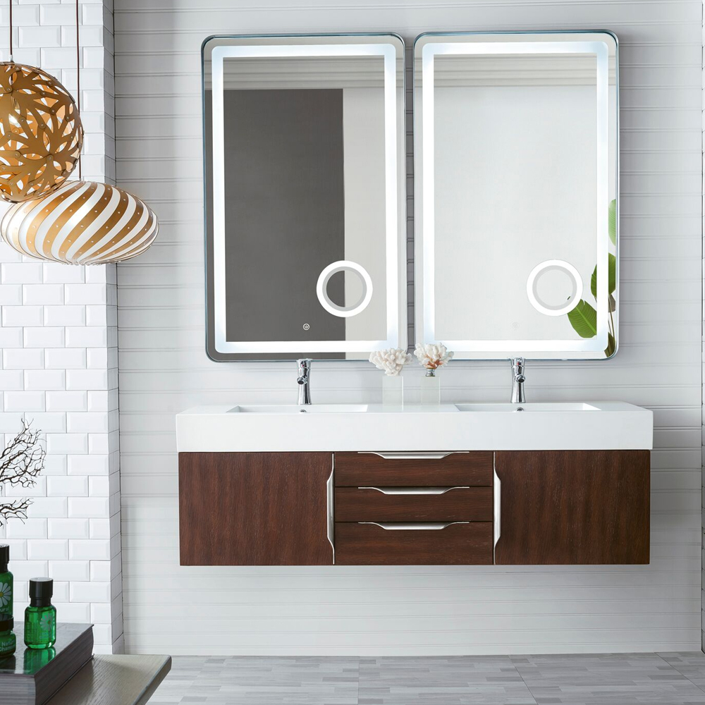 "James Martin Mercer Island Collection 59"" Double Vanity, Coffee Oak Finish"