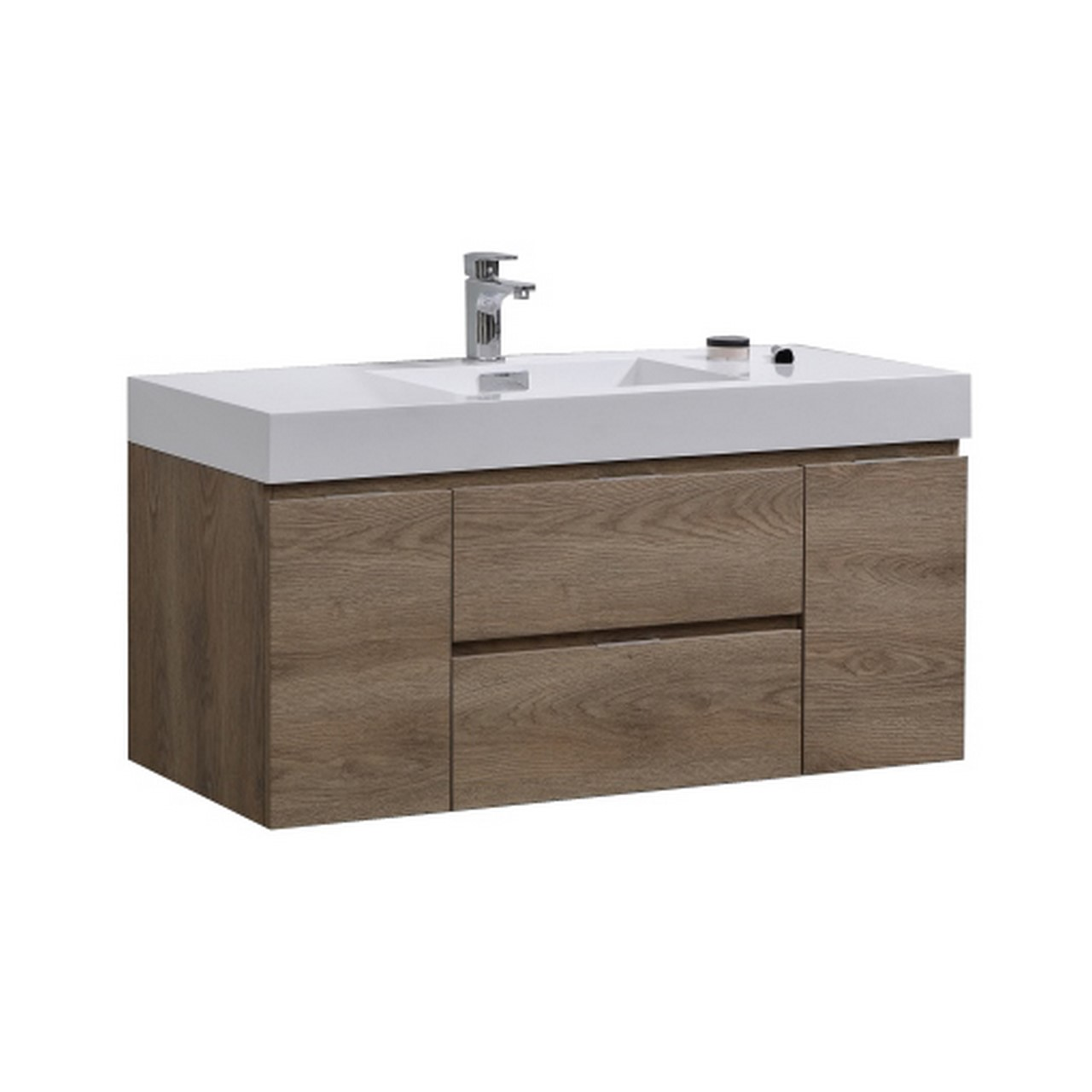 "Modern Lux 48"" Butternut Wall Mount Modern Bathroom Vanity"