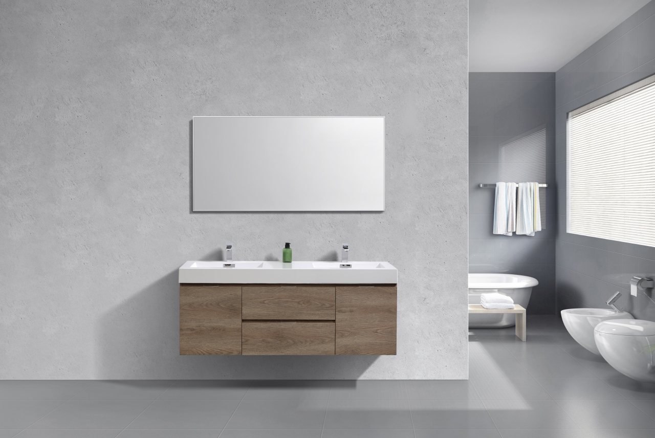 "Modern Lux 60"" Double Sink Butternut Wall Mount Modern Bathroom Vanity"