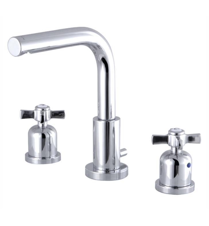 "Millennium 7 5/8"" Double Metal Cross Handle Widespread Bathroom Sink Faucet with Pop-Up Drain"