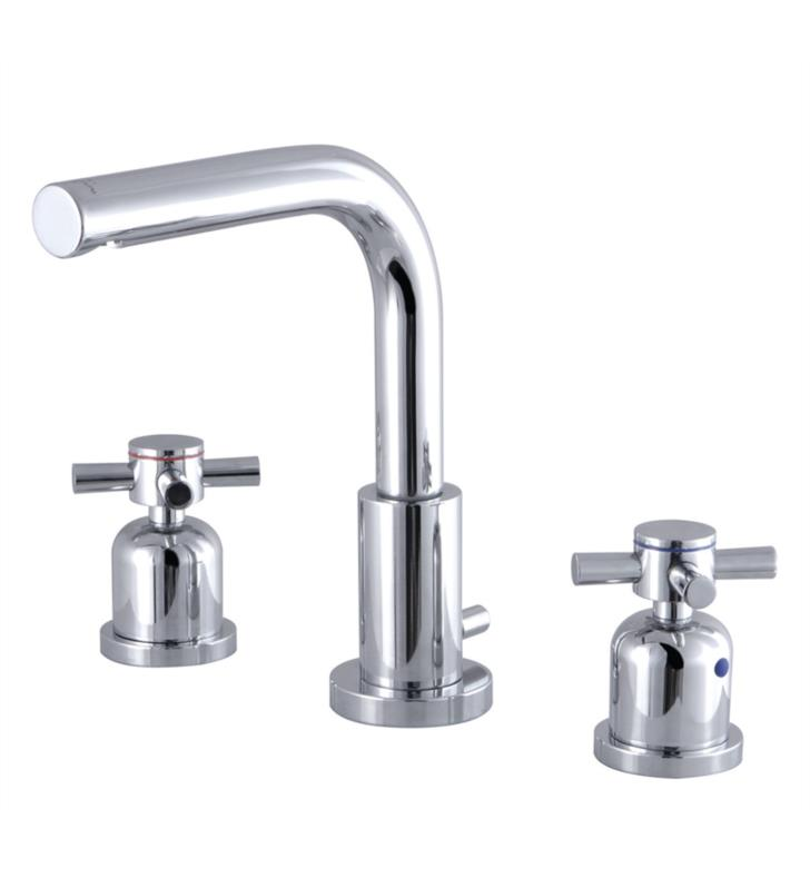 "Concord 7 5/8"" Double Metal Cross Handle Widespread Bathroom Sink Faucet with Pop-Up Drain"