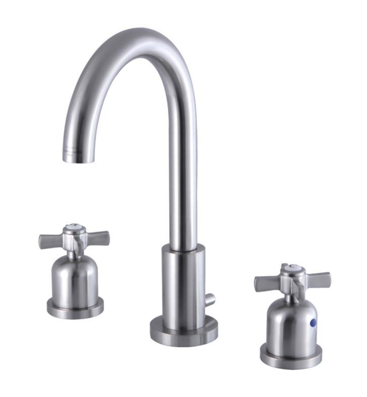 "Millennium 10"" Double Metal Cross Handle Widespread Bathroom Sink Faucet with Pop-Up Drain"