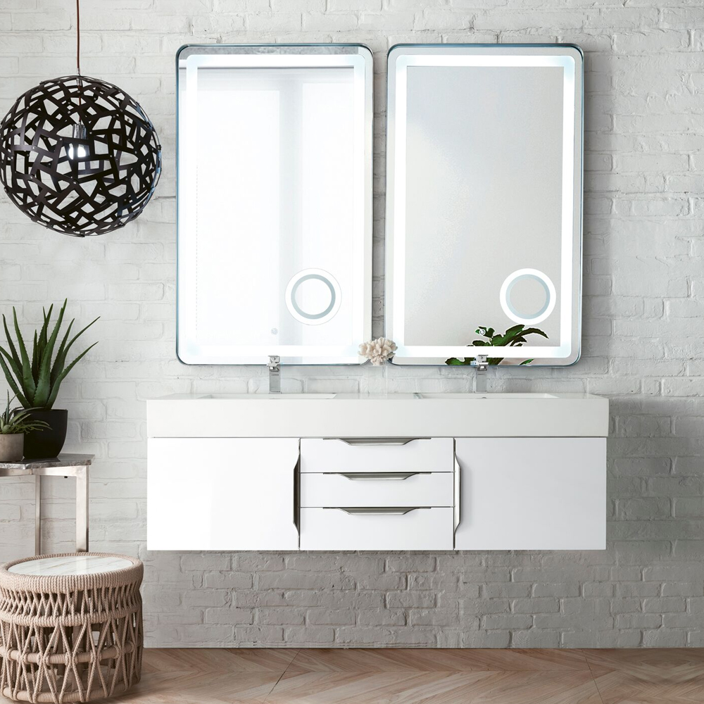 "James Martin Mercer Island Collection 59"" Double Vanity, Glossy White Finish"