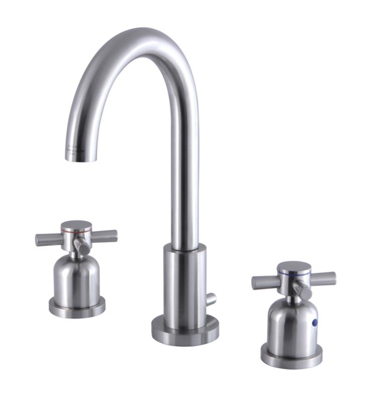 "Concord 10"" Double Metal Cross Handle Widespread Bathroom Sink Faucet with Pop-Up Drain"