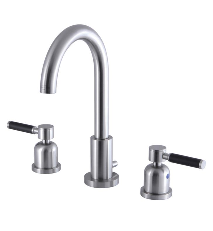 "Kaiser 10"" Double Porcelain Rubber - Coated Lever Handle Widespread Bathroom Sink Faucet with Pop-Up Drain"