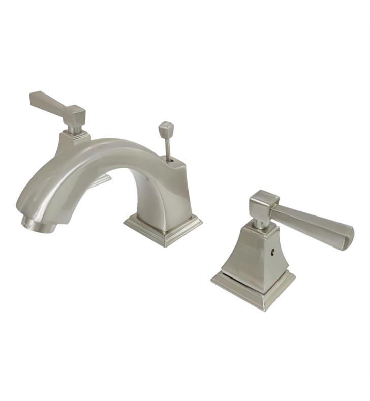 "Concord 4 3/8"" Double Metal Lever Handle Widespread Bathroom Sink Faucet with Pop-Up Drain"