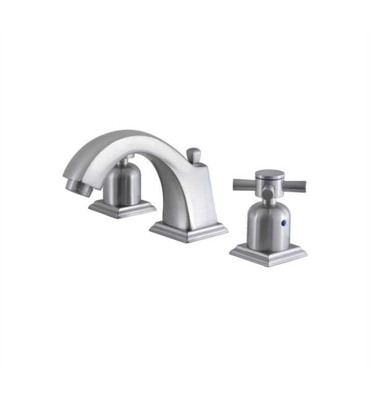 "Concord 4 3/8"" Double Metal Cross Handle Widespread Bathroom Sink Faucet with Pop-Up Drain in Brushed Nickel"