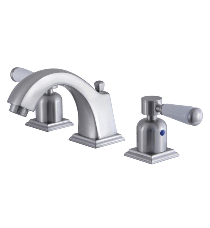 "Paris 4 3/8"" Double Porcelain Lever Handle Widespread Bathroom Sink Faucet with Pop-Up Drain in Brushed Nickel"