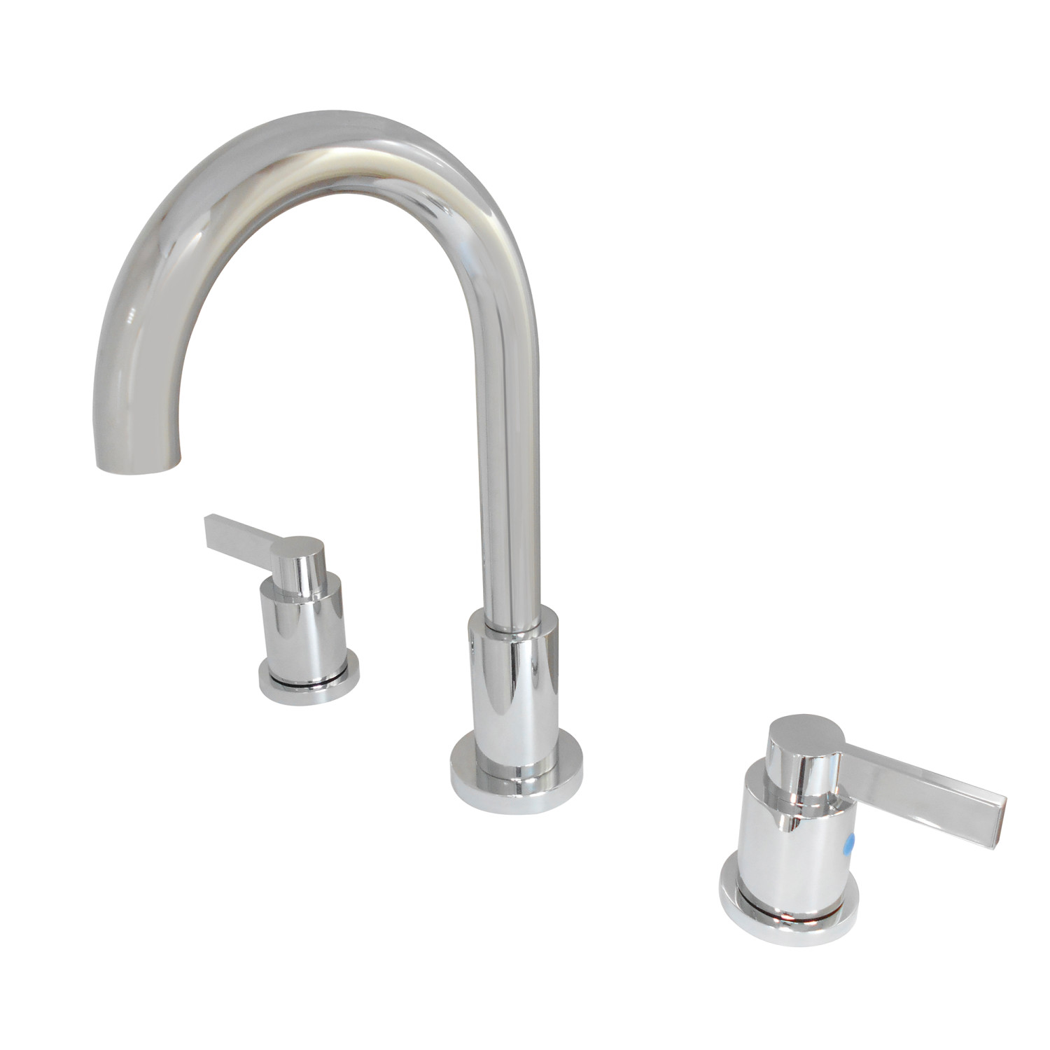 Modern Two-Handle Three-Hole Deck Mounted Widespread Bathroom Faucet with Brass Pop-Up in Polished Chrome