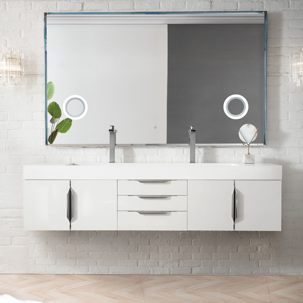 "James Martin Mercer Island Collection 72"" Double Vanity, Glossy White Finish"
