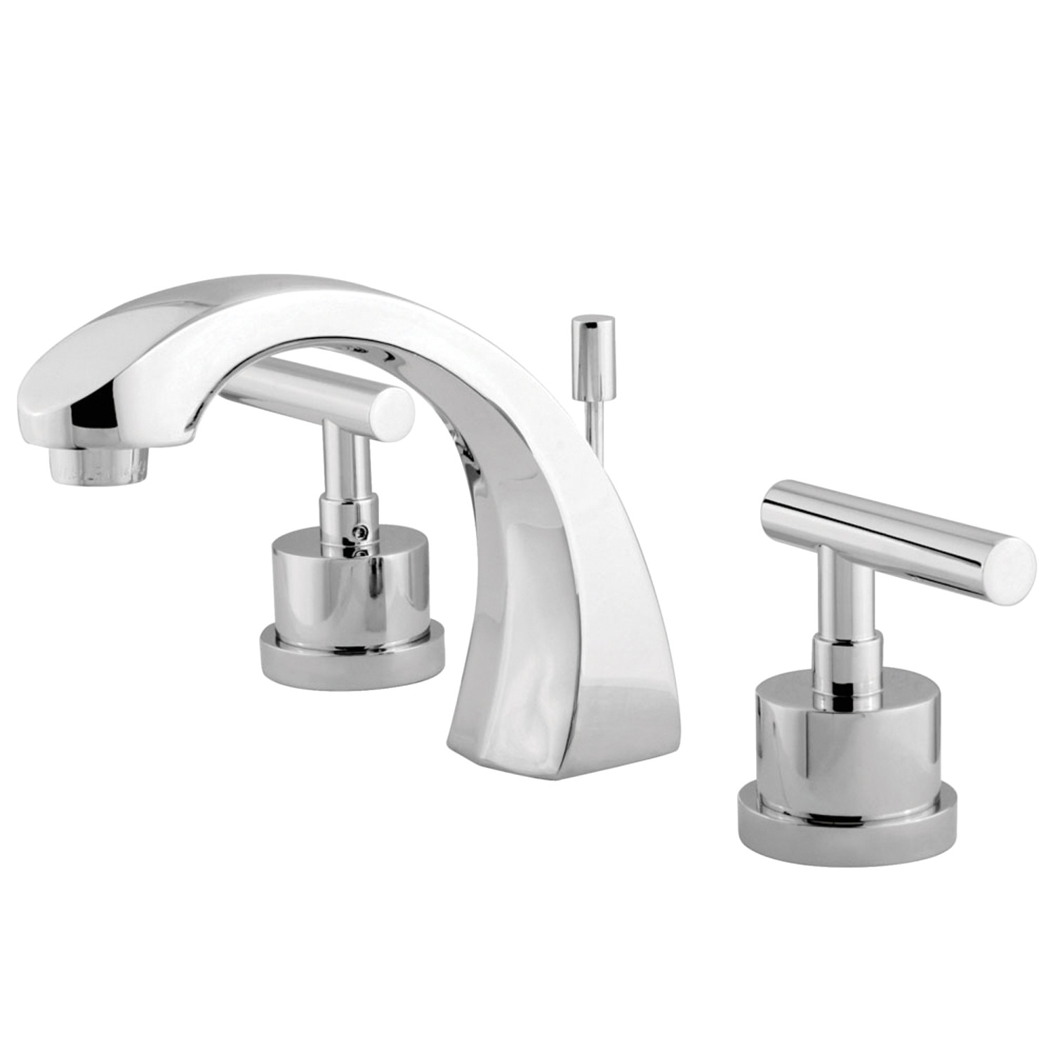 Modern Two-Handle 3-Hole Deck Mount Widespread Bathroom Faucet with Brass Pop-Up
