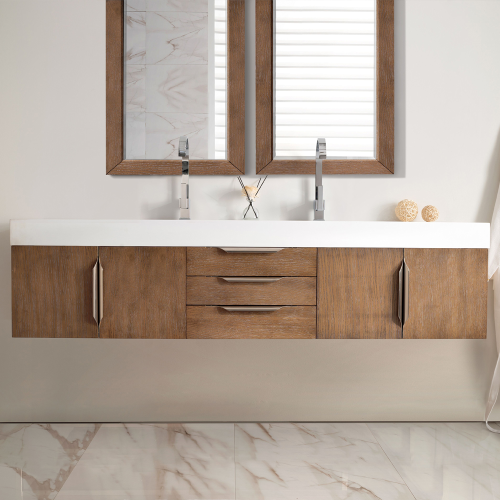 "James Martin Mercer Island Collection 72"" Double Vanity, Latte Oak Finish"