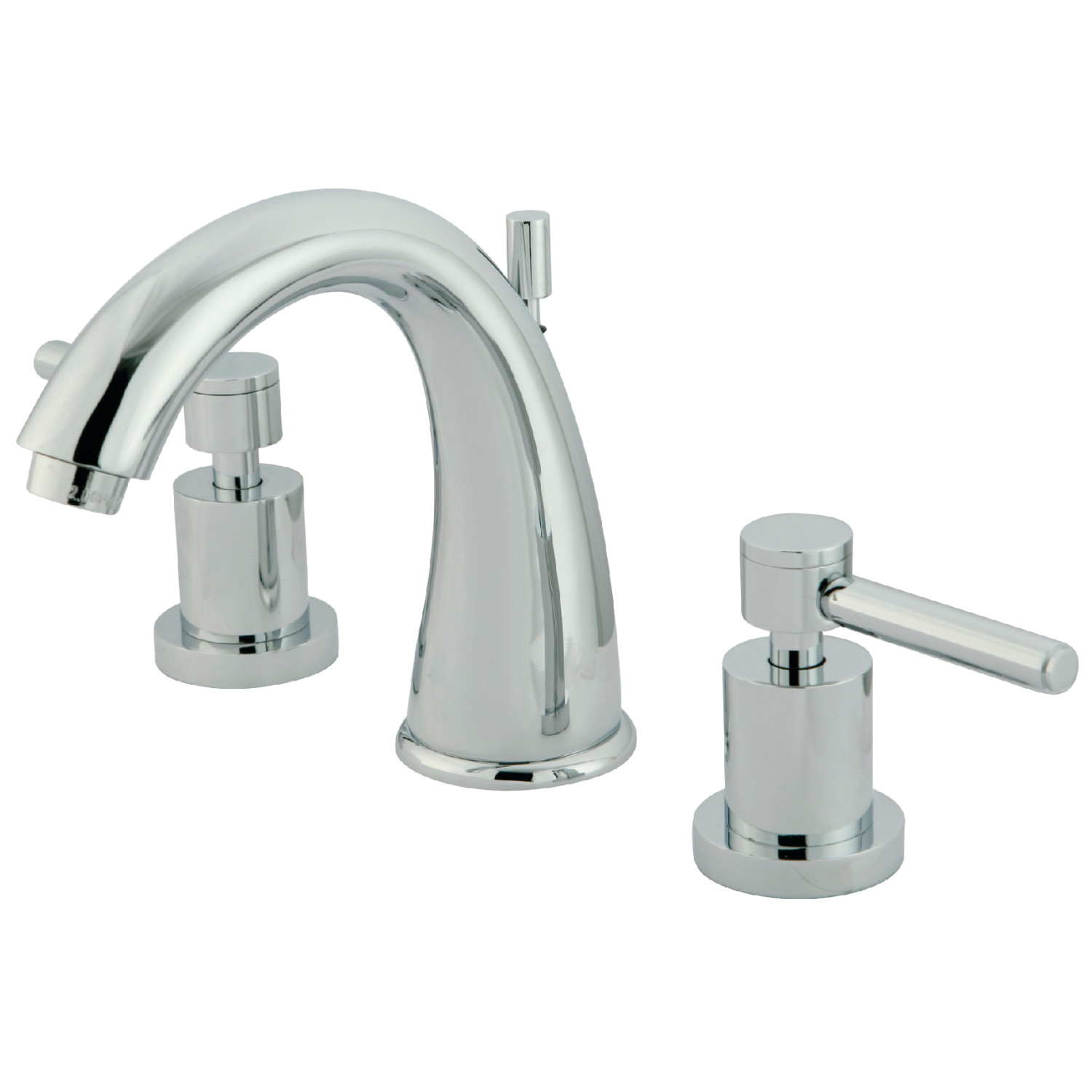 Modern 2-Handle Three-Hole Deck Mounted Widespread Bathroom Faucet with Brass Pop-Up in Polished Chrome