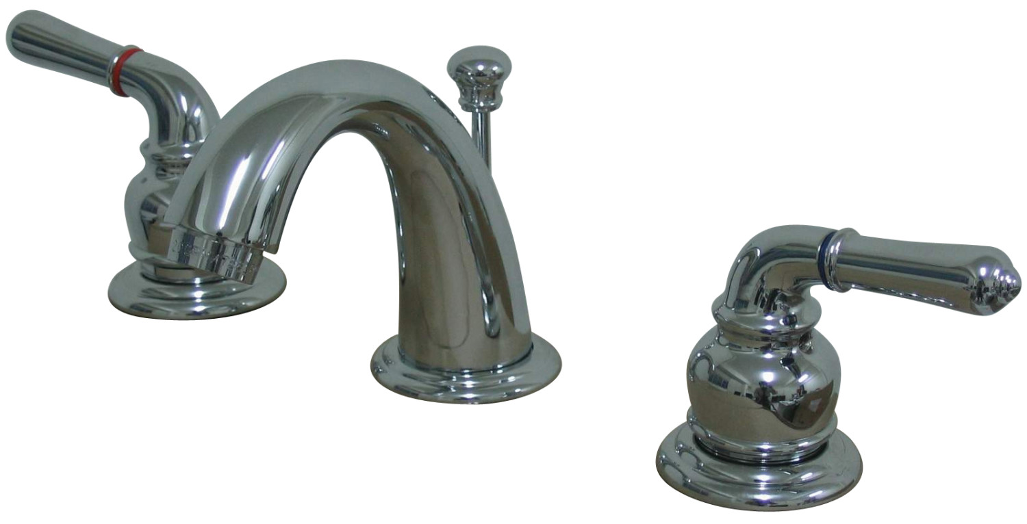Traditional Two-Handle 3-Hole Deck Mounted Widespread Bathroom Faucet with Plastic Pop-Up in Polished Chrome Finish