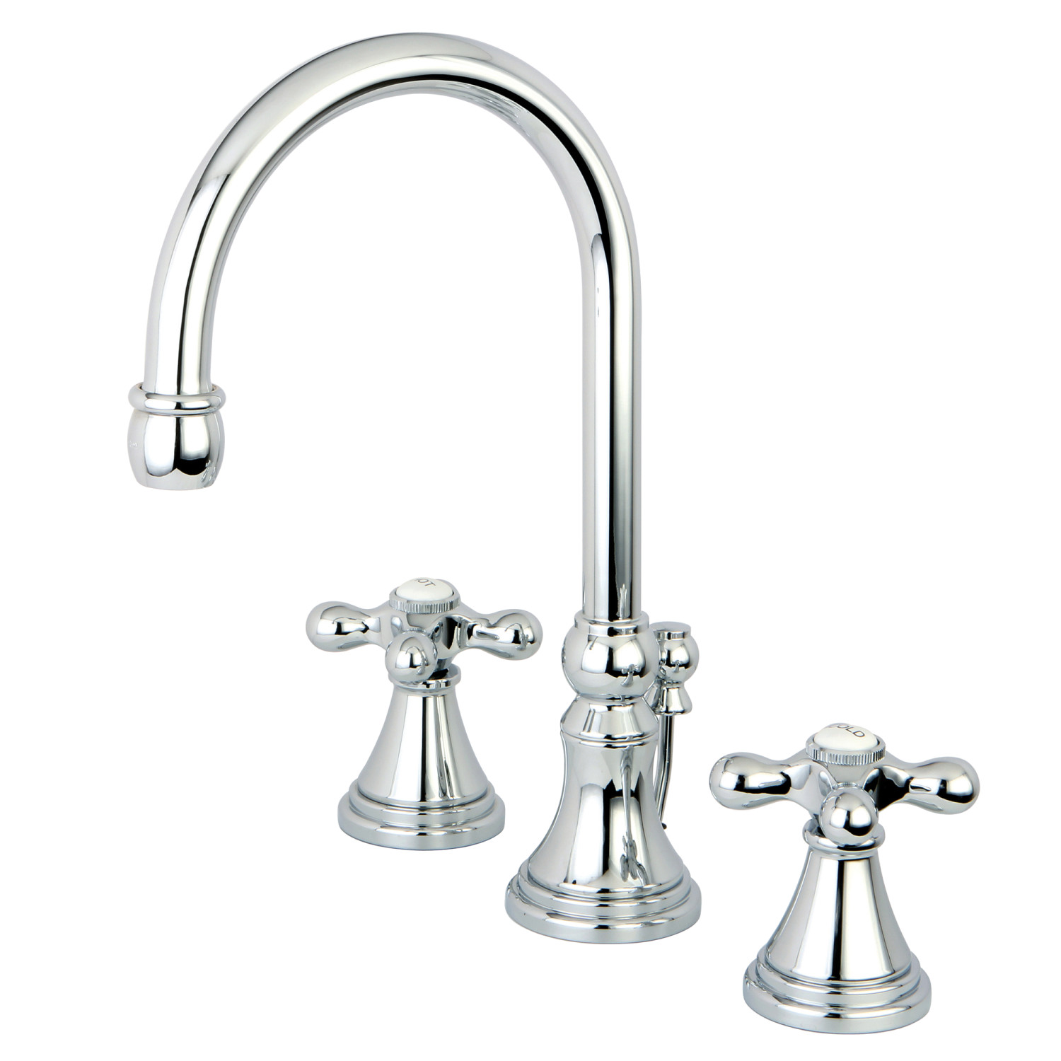 Two-Handle 3-Hole Traditional Deck Mounted Widespread Bathroom Faucet with Brass Pop-Up in Polished Chrome