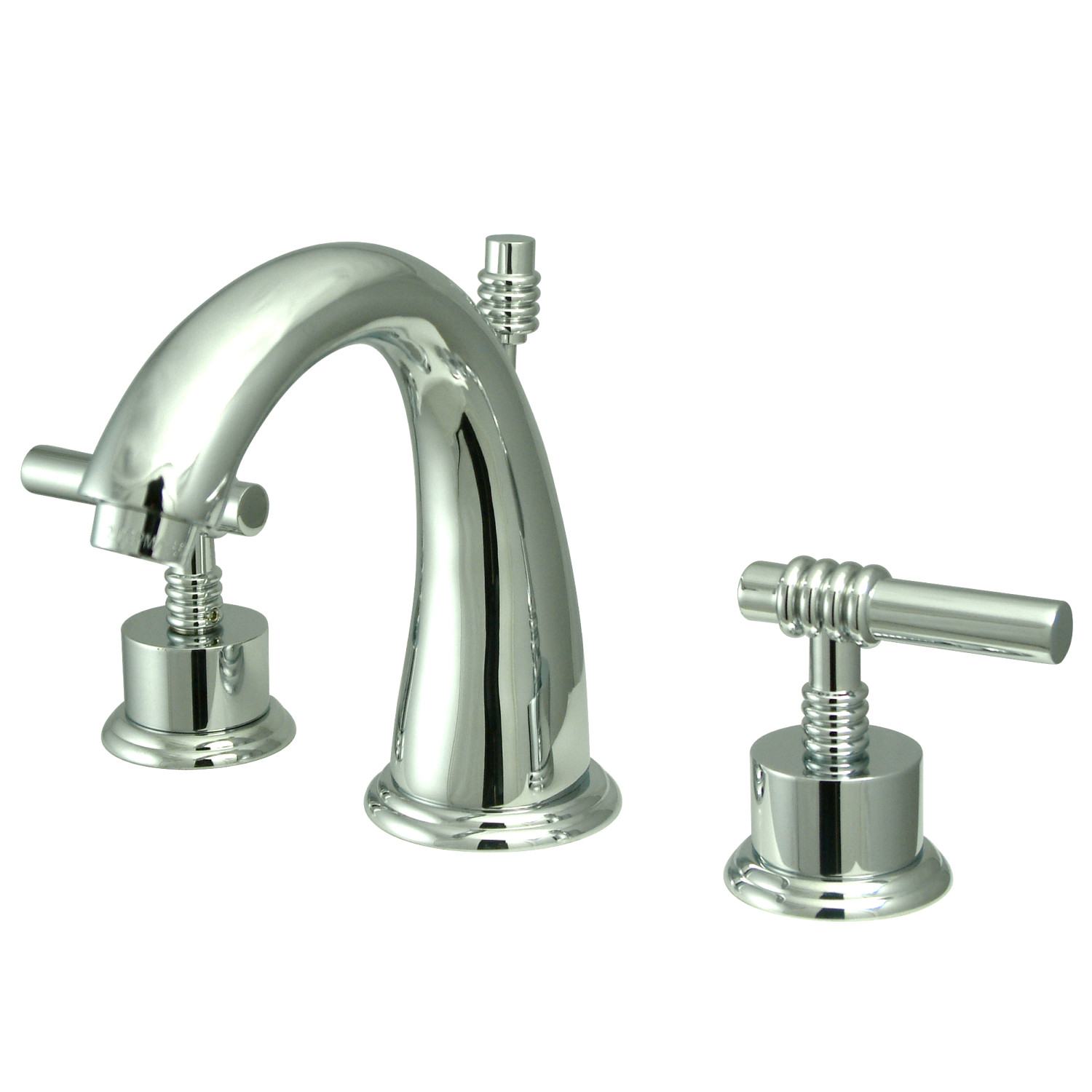 Contemporary Two-Handle 3-Hole Deck Mounted Widespread Bathroom Faucet with Brass Pop-Up in Polished Chrome