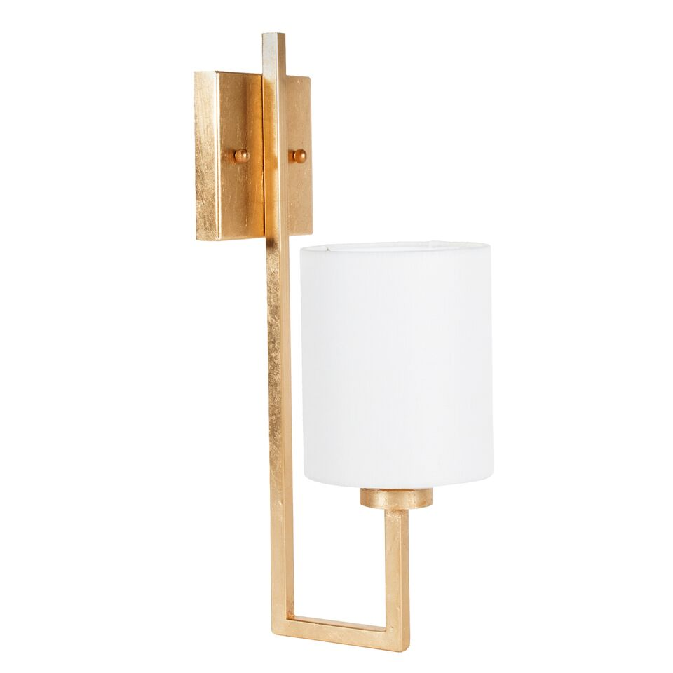 Gold Leaf or Nickel Sconce with White Linen Shade