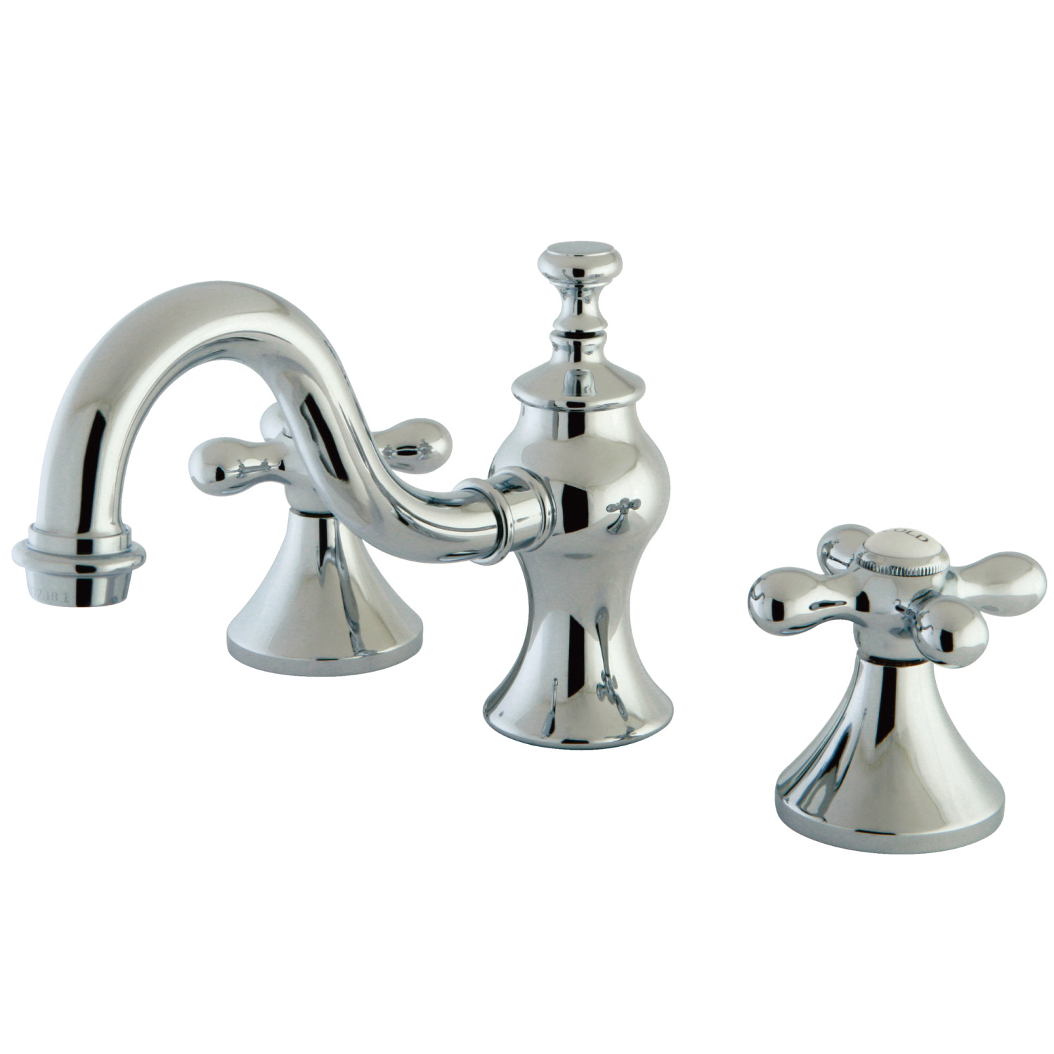 Traditional Two-Handle 3-Hole Deck Mounted Widespread Bathroom Faucet Brass Pop-Up in Polished Chrome