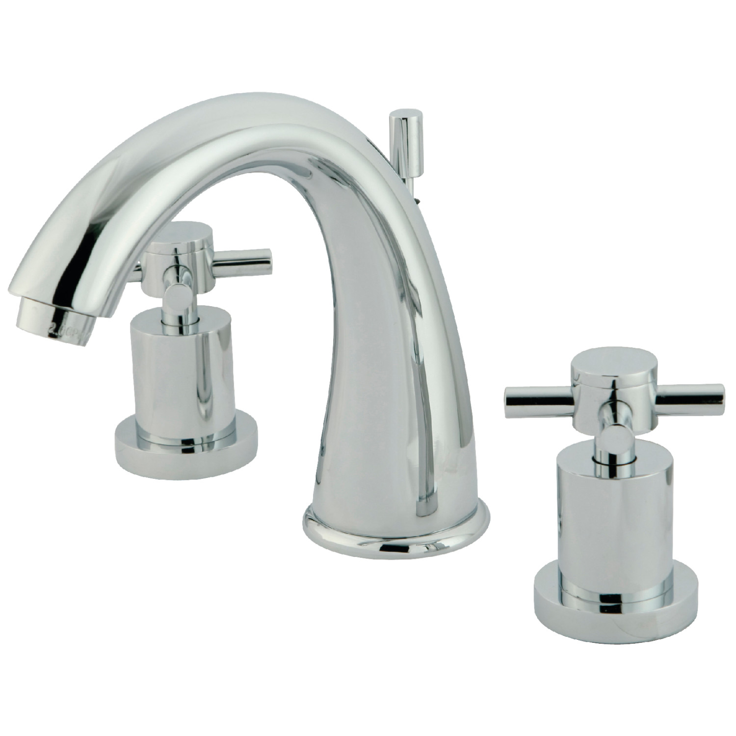 Contemporary 2-Handle Three-Hole Deck Mounted Widespread Bathroom Faucet with Brass Pop-Up in Polished Chrome