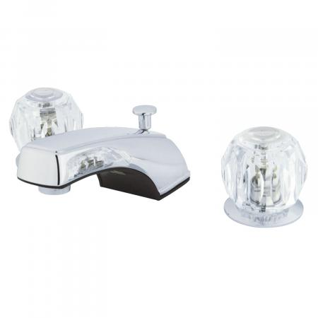 Traditional Two-Handle Three-Hole Deck Mounted Widespread Bathroom Faucet with Plastic Pop-Up in Polished Chrome Finish