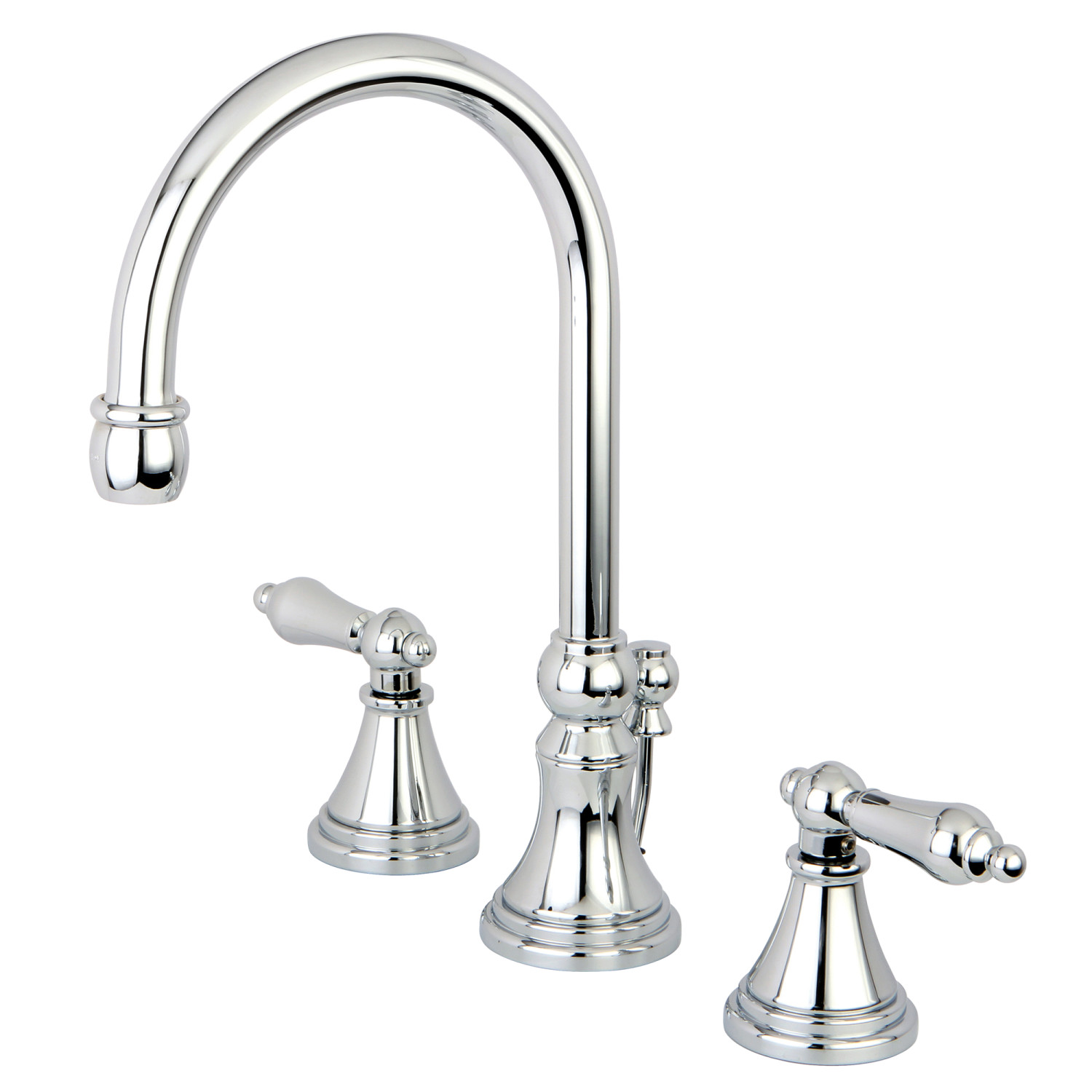 Traditional 2-Handle 3-Hole Deck Mounted Widespread Bathroom Faucet Brass Pop-Up in Polished Chrome with 7 Finish Options