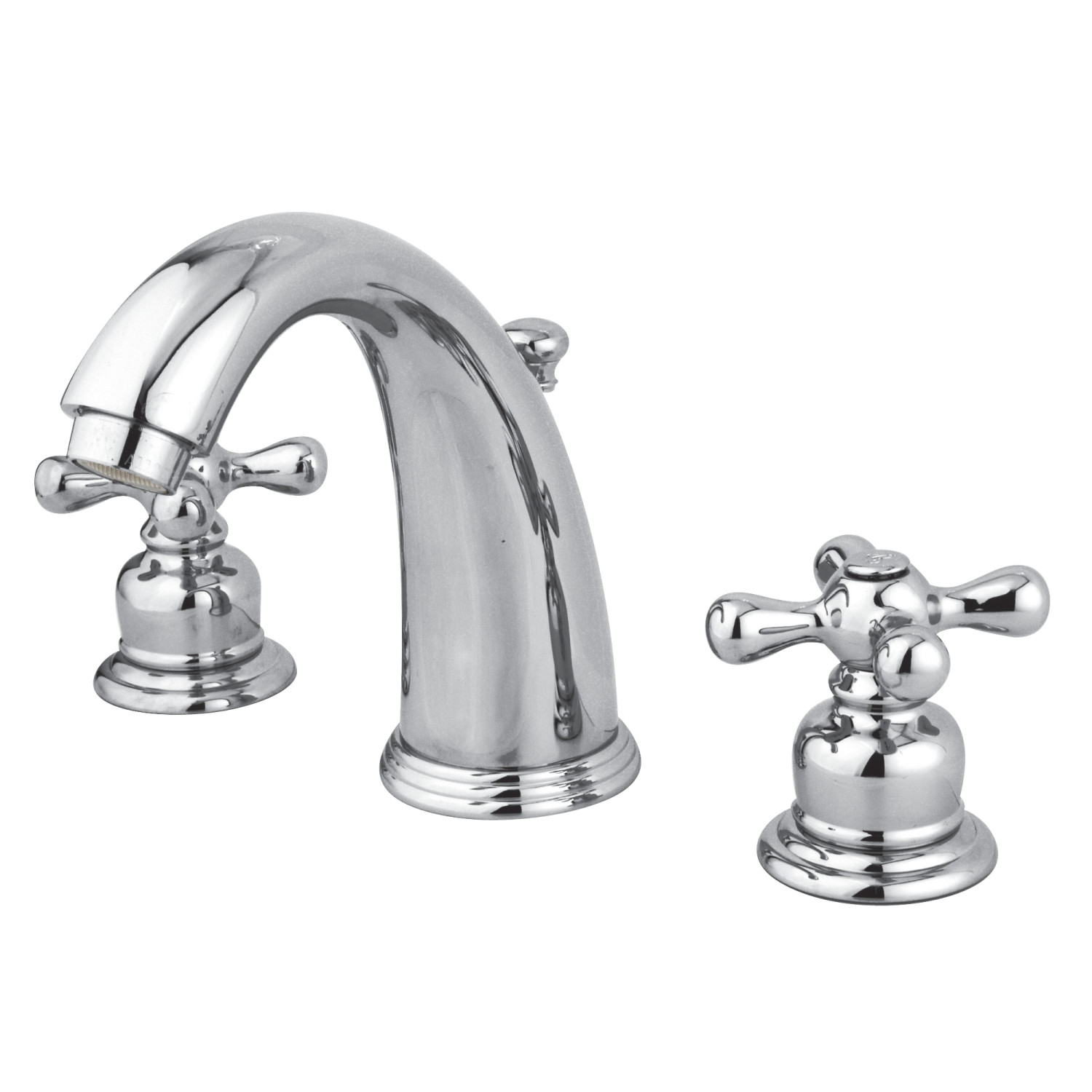 Vintage 2-Handle Three-Hole Deck Mounted Widespread Bathroom Faucet with Plastic Pop-Up in Polished Chrome