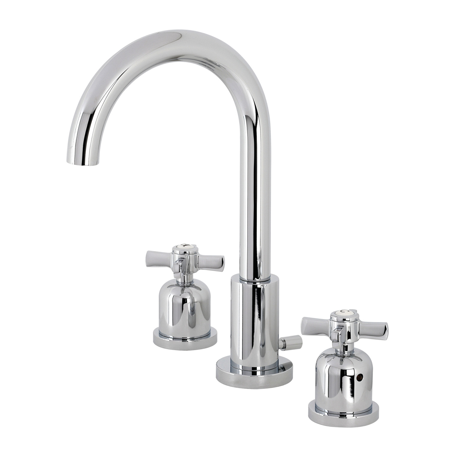 Modern Two-Handle Three-Hole Deck Mounted Widespread Bathroom Faucet with Brass Pop-Up in Polished Chrome Finish