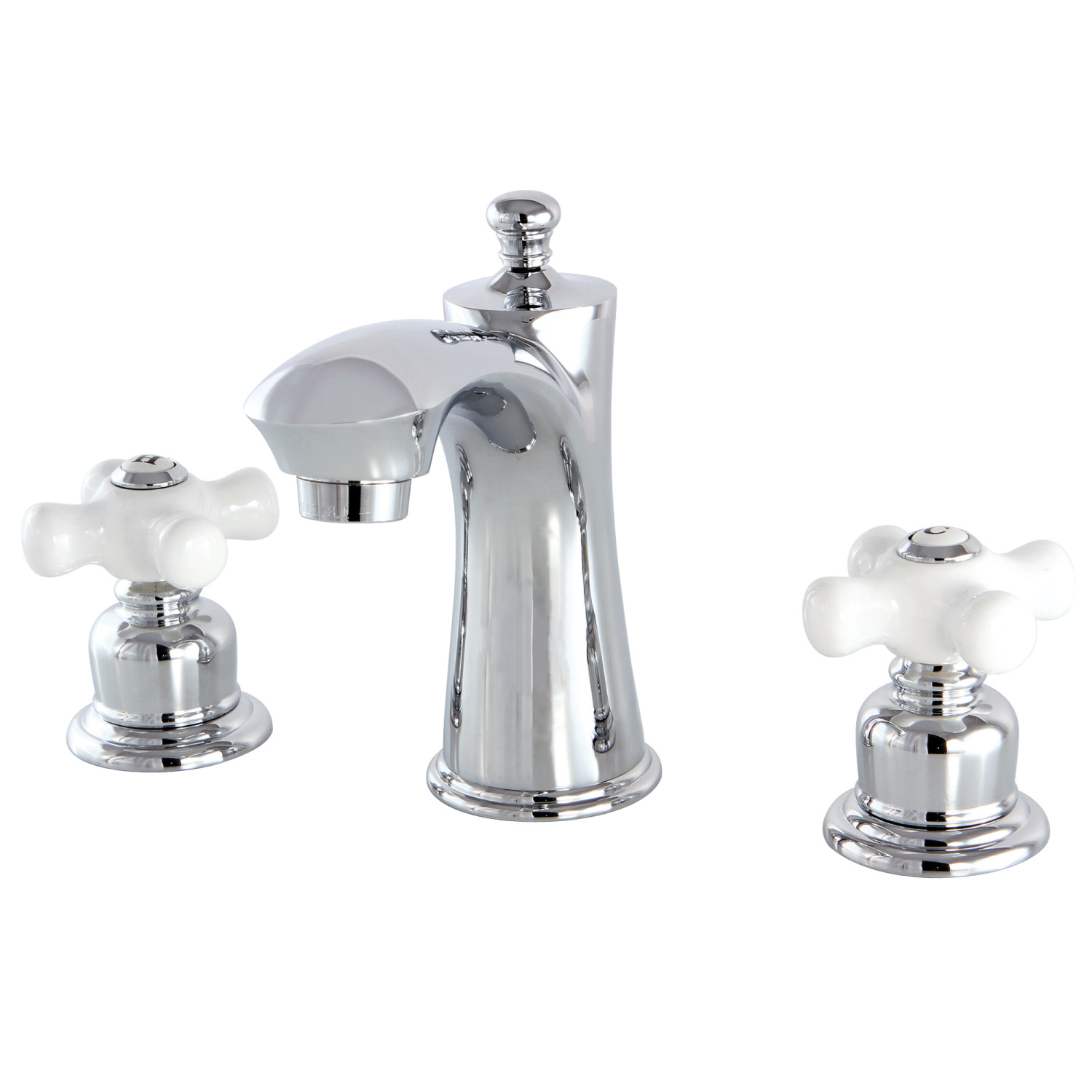 Vintage Two-Handle 3-Hole Deck Mounted Widespread Bathroom Faucet with Plastic Pop-Up in Polished Chrome Finish