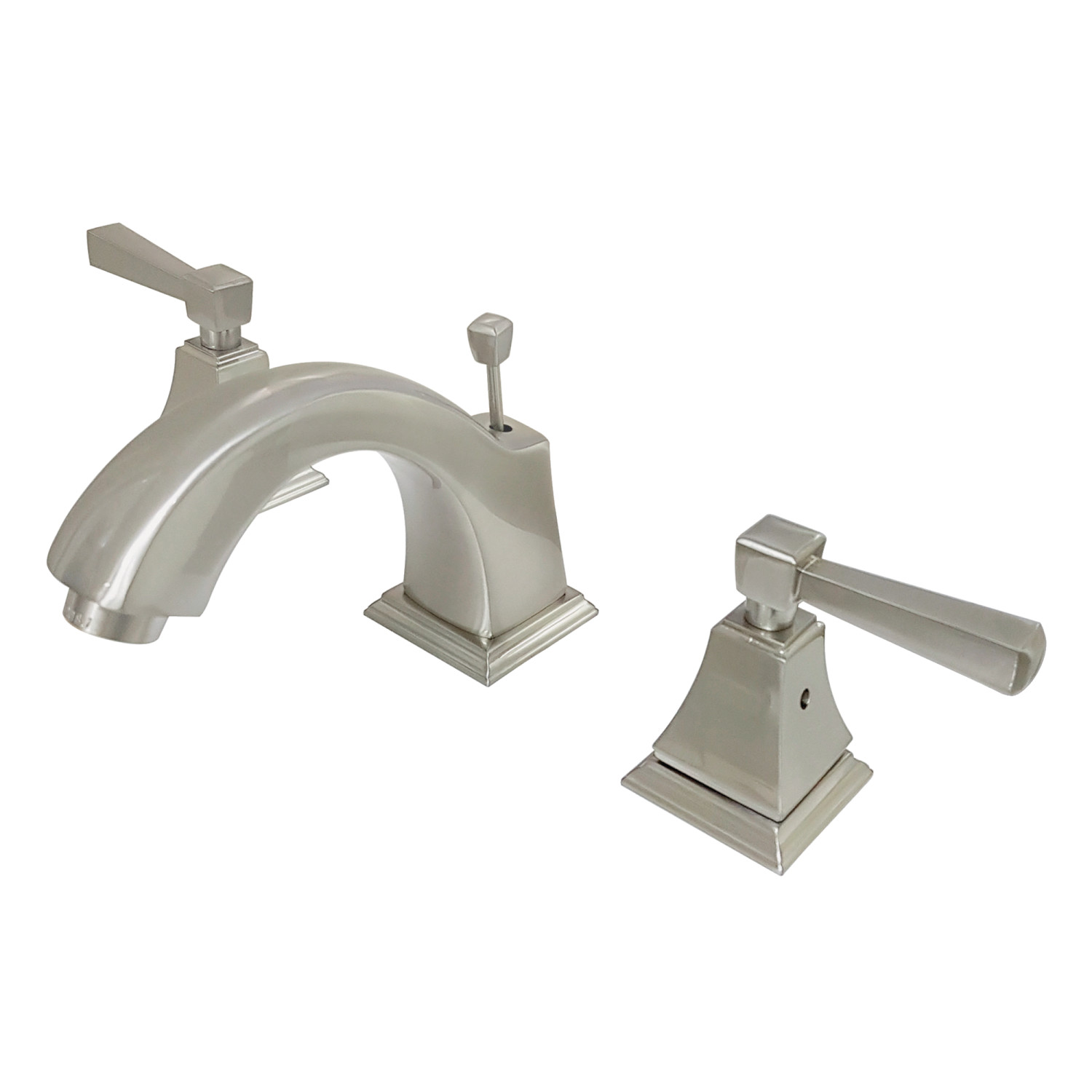 Contemporary Two-Handle 3-Hole Deck Mounted Widespread Bathroom Faucet with Plastic Pop-Up in Oil Rubbed Bronze