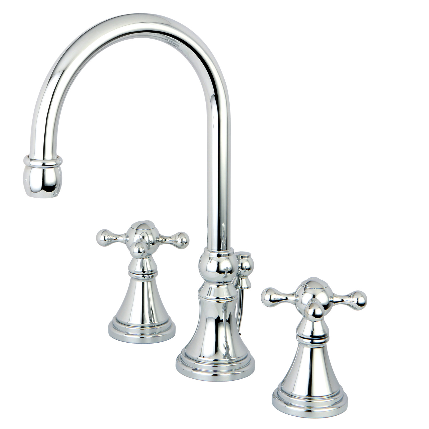Traditional Two-Handle 3-Hole Deck Mounted Widespread Bathroom Faucet Brass Pop-Up in Polished Chrome with Finish Options