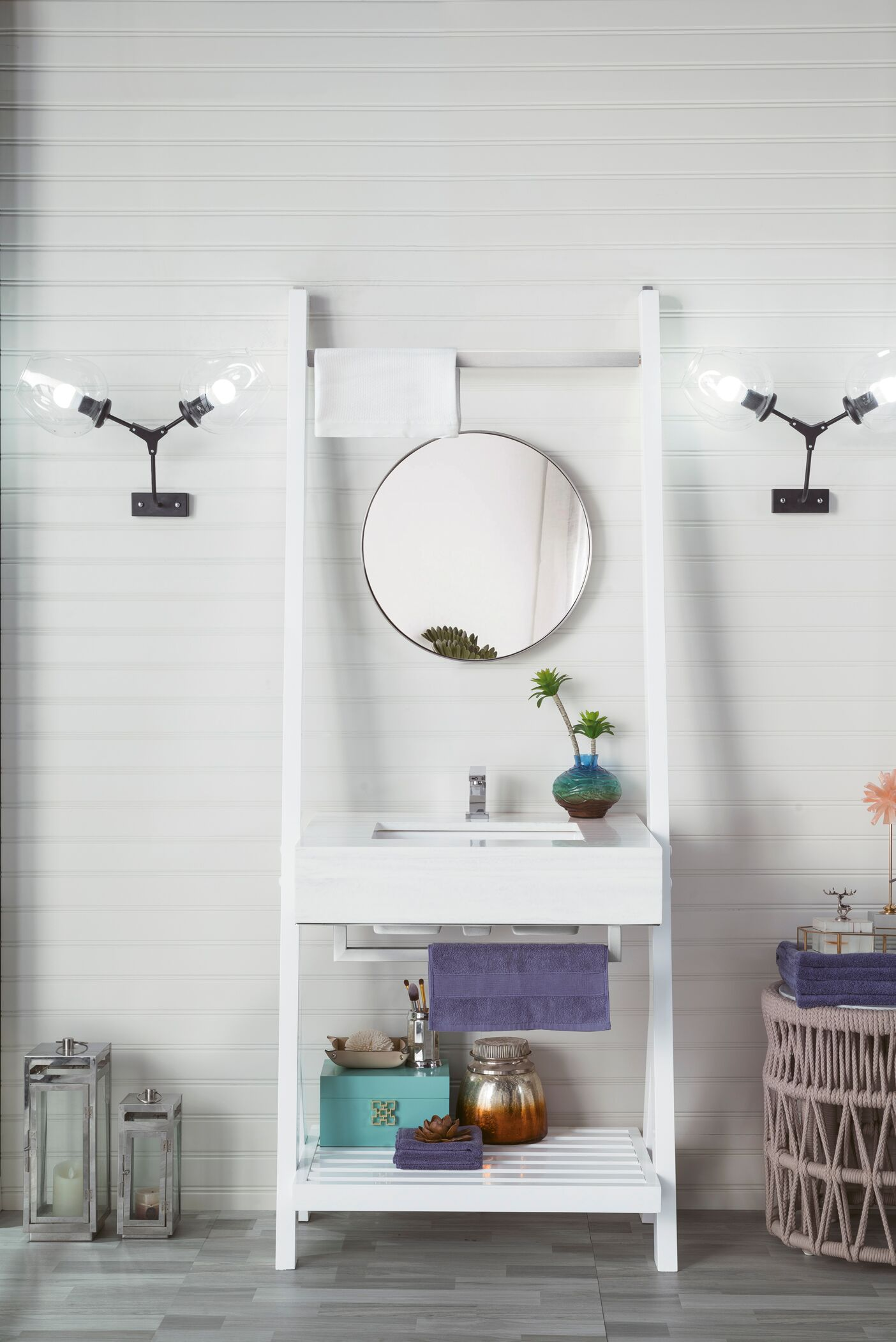 """James Martin Lakeside Collection 30"""" Single Vanity, Glossy White with Arctic Fall Solid Surface Top"""