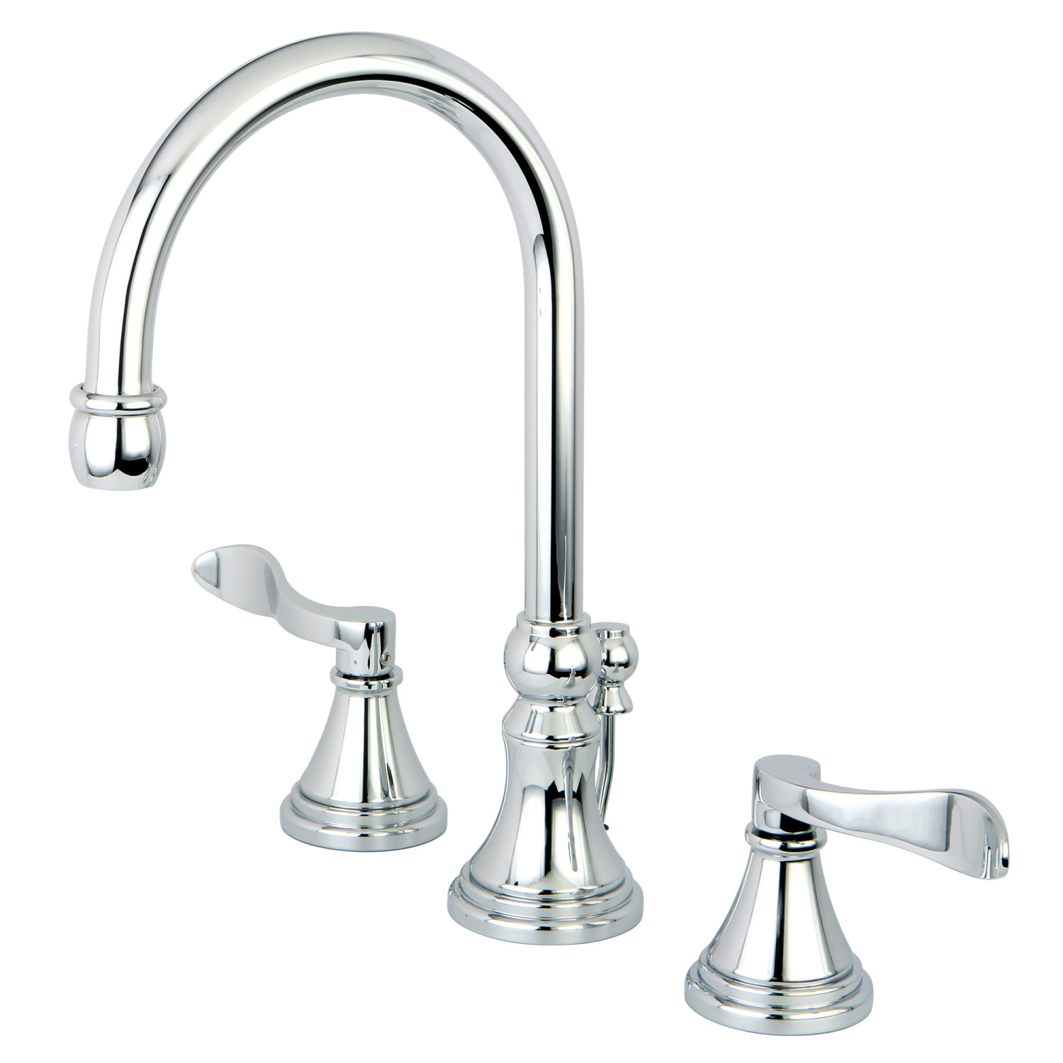 Traditional Two-Handle 3-Hole Deck Mounted Widespread Bathroom Faucet Brass Pop-Up with Polished Chrome