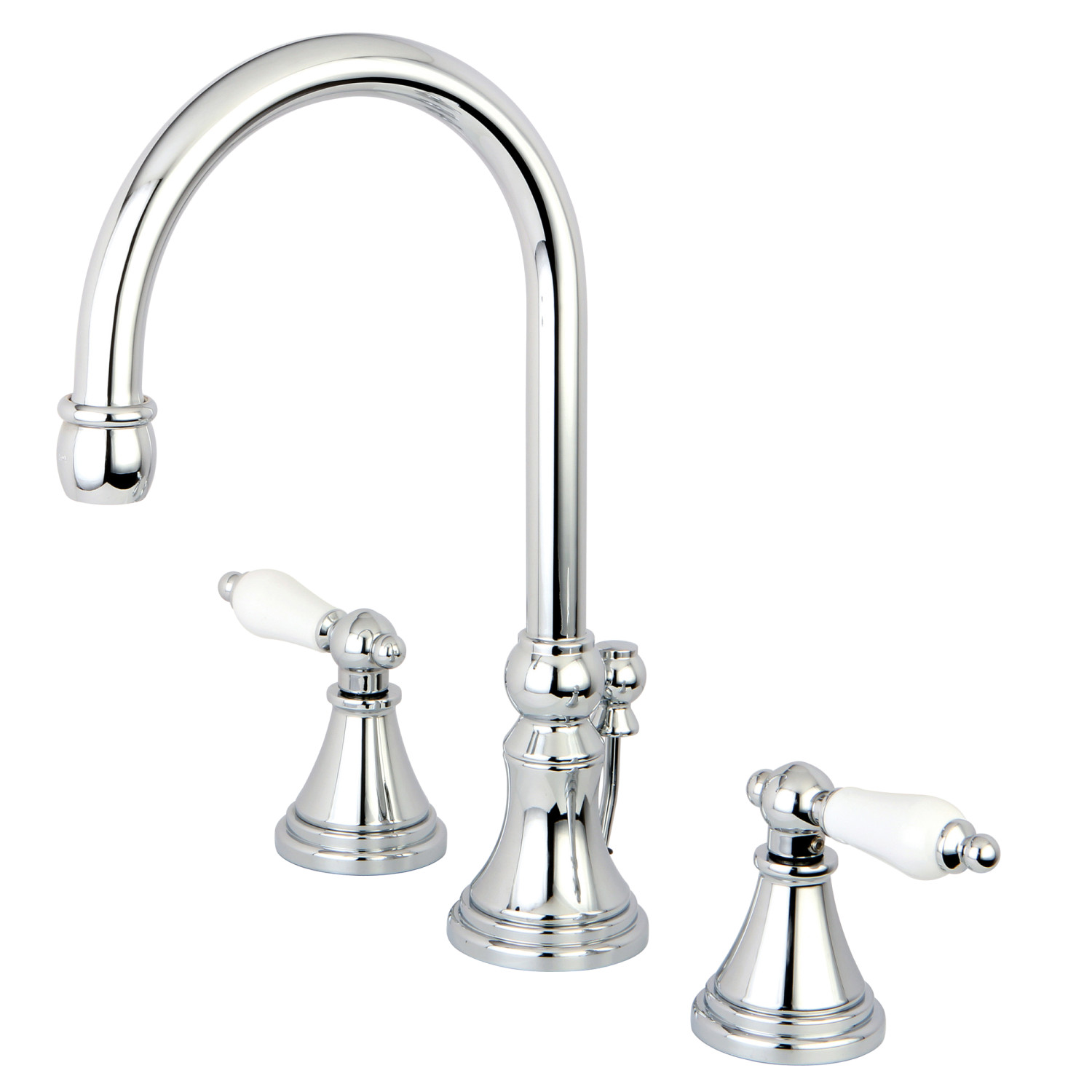 Traditional Dual Lever Handle Three-Hole Deck Mounted Widespread Bathroom Faucet with Brass Pop-Up in Polished Chrome