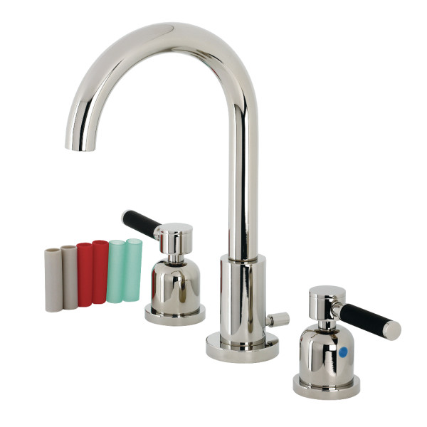 Modern Lever Two-Handle 3-Hole Deck Mounted Widespread Bathroom Faucet with Brass Pop-Up in Polished Chrome