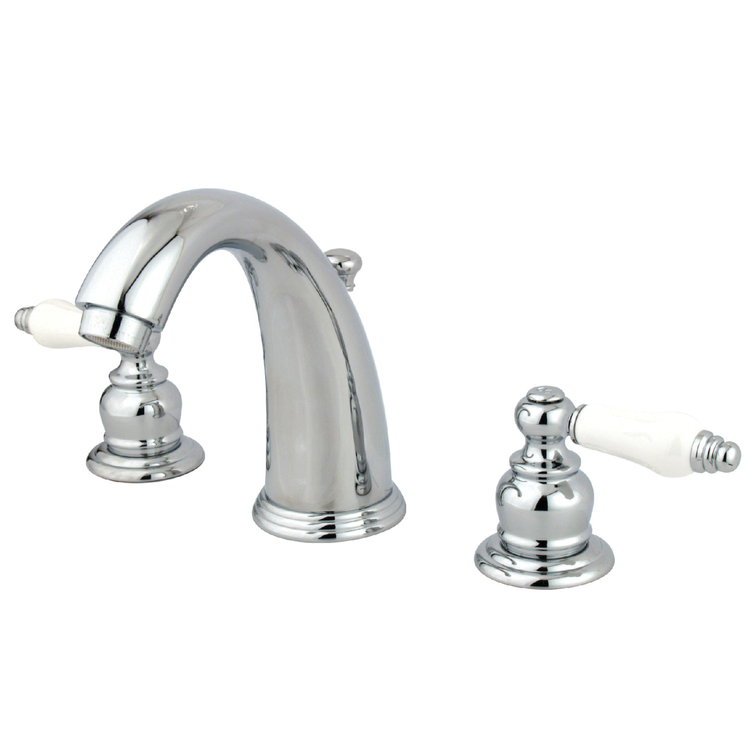 Vintage Dual Lever Two-Handle Three-Hole Deck Mounted Widespread Bathroom Faucet with Plastic Pop-Up in Polished Chrome