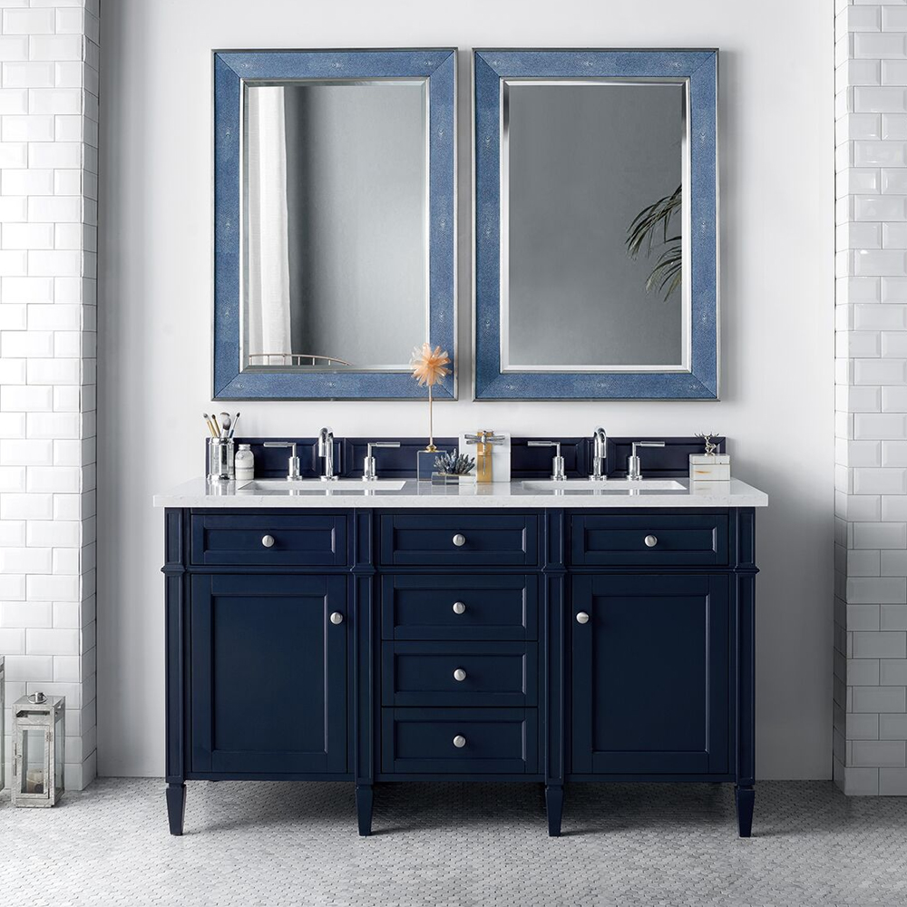 "James Martin Brittany Collection 60"" Double Vanity, Victory Blue"