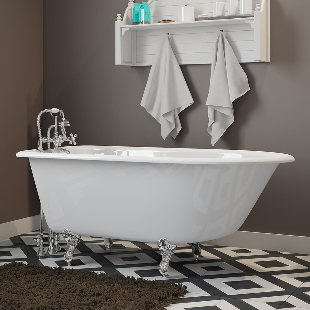 """Cast-Iron Rolled Rim Clawfoot Tub 55"""" X 30"""" with 3 3/8"""" Bathtub Wall Faucet Drillings and British Telephone Style Faucet Complete with Plumbing Package Options"""