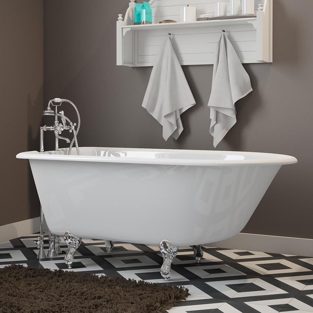 """Cast-Iron Rolled Rim Clawfoot Tub 55"""" X 30"""" with 7"""" Deck Mount Faucet Drillings And British Telephone Complete With Six Inch Deck Mount Risers with Plumbing Package Options"""