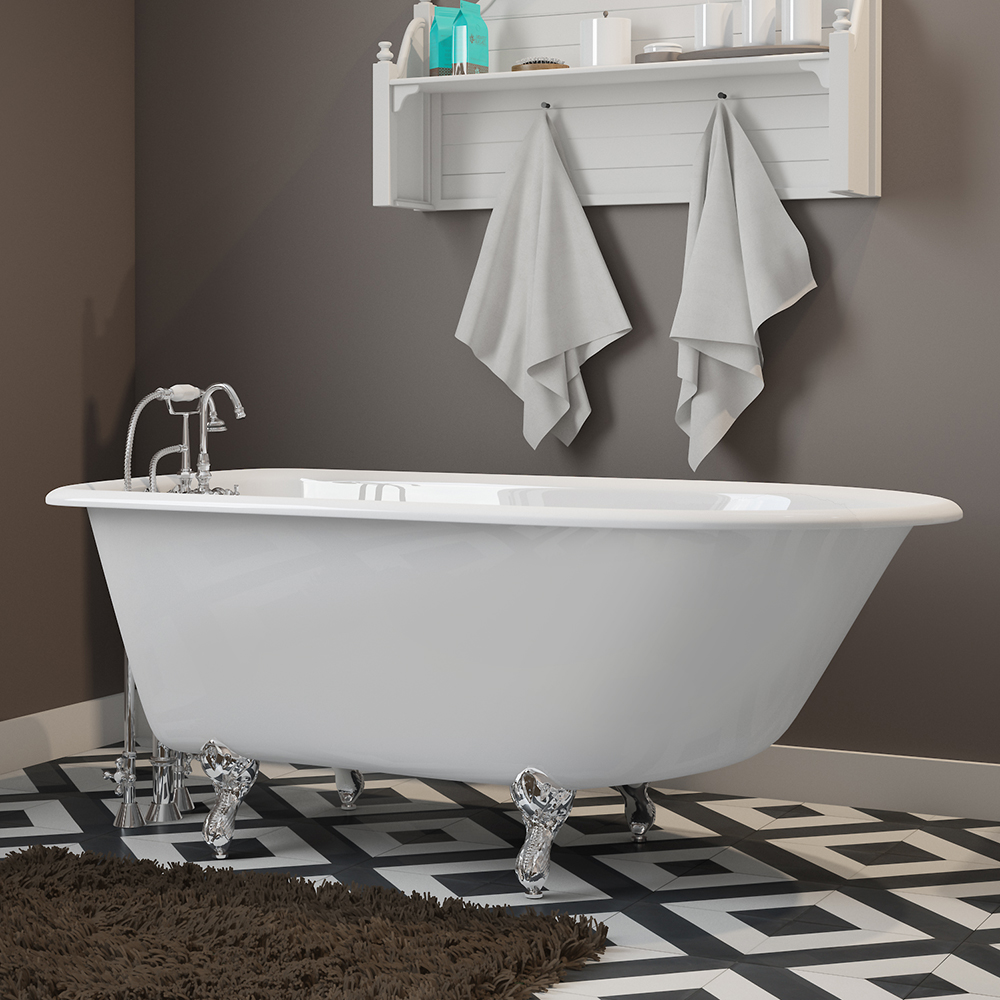 """Cast-Iron Rolled Rim Clawfoot Tub 55"""" X 30"""" with 3 3/8"""" Bathtub Wall Faucet Drillings and English Telephone Style Faucet Complete with Plumbing Package Options"""