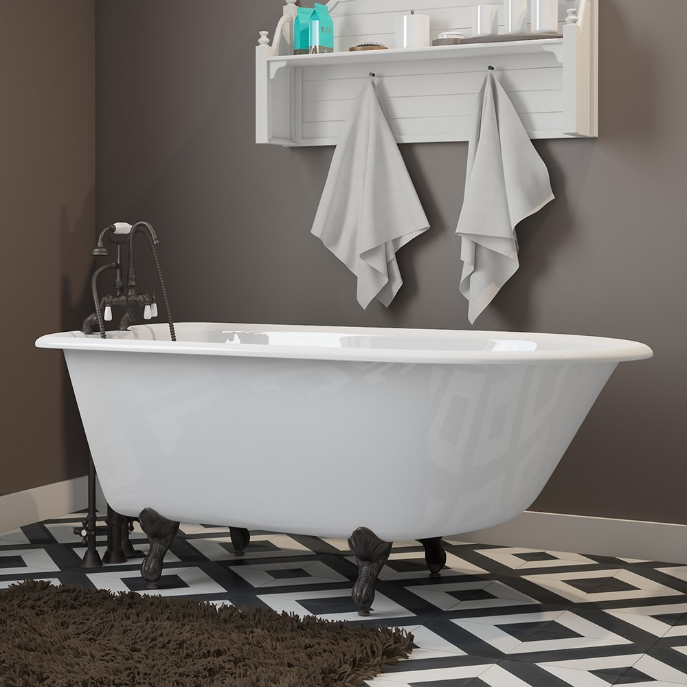 """Cast-Iron Rolled Rim Clawfoot Tub 55"""" X 30"""" with 7"""" Deck Mount Faucet Drillings and English Telephone Style Faucet Complete with Plumbing Package Options"""