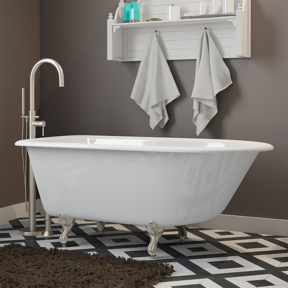 """Cast-Iron Rolled Rim Clawfoot Tub 55"""" X 30""""  with no Faucet Drillings and Complete Polished Chrome Modern Freestanding Tub Filler with Hand Held Shower Assembly with Plumbing Package Options"""