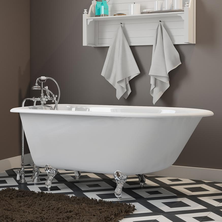 """Cast-Iron Rolled Rim Clawfoot Tub 55"""" X 30"""" with complete Free Standing British Telephone Faucet and Hand Held Shower with Plumbing Package Options"""