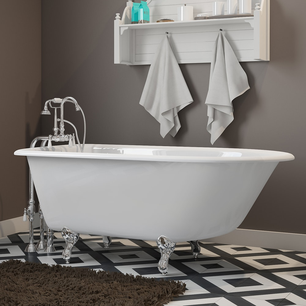 """Cast-Iron Rolled Rim Clawfoot Tub 55"""" X 30""""  with no Faucet Drillings and Complete Polished Chrome Free Standing English Telephone Style Faucet with Hand Held Shower Assembly Plumbing Package"""