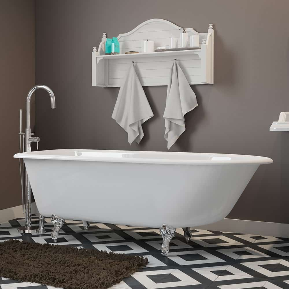 """Cast-Iron Rolled Rim Clawfoot Tub 61"""" X 30"""" with no Faucet Drillings and Complete Polished Chrome Modern Freestanding Tub Filler with Hand Held Shower Assembly Plumbing Package"""