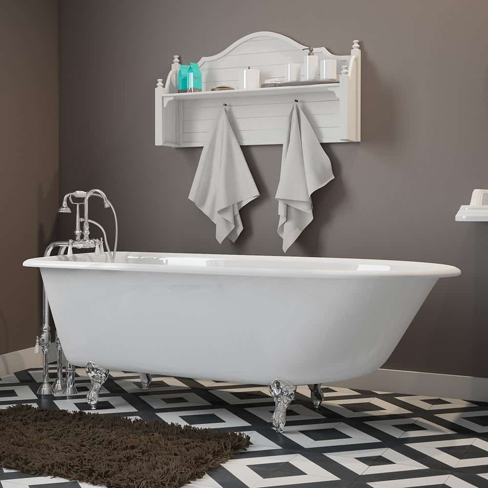 """Cast-Iron Rolled Rim Clawfoot Tub 61"""" X 30"""" with no Faucet Drillings and Complete Polished Chrome Free Standing English Telephone Style Faucet with Hand Held Shower Assembly Plumbing Package"""